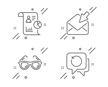 Report, Open mail and Sunglasses line icons set. Recovery data sign. Work statistics, View e-mail, Travel glasses. Backup info. Business set. Line report outline icon. Vector 向量圖像