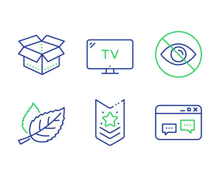 Not looking, Leaf and Open box line icons set. Shoulder strap, Tv and Browser window signs. Eye care, Nature leaves, Delivery package. Star rank. Business set. Line not looking outline icons. Vector