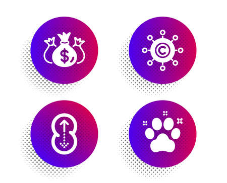 Copywriting network, Check investment and Swipe up icons simple set. Halftone dots button. Pet friendly sign. Content networking, Business report, Scrolling page. Dog paw. Business set. Vector Illusztráció