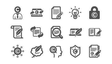 Copywriting icons. Copyright, Typewriter and Feedback. Legal content classic icon set. Quality set. Vector Ilustração