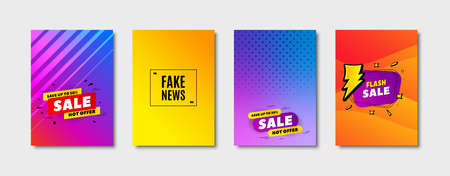 Fake news symbol. Cover design, banner badge. Media newspaper sign. Daily information. Poster template. Sale, hot offer discount. Flyer or cover background. Coupon, banner design. Vector