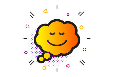 Chat emotion sign. Halftone circles pattern. Comic speech bubble with Smile icon. Classic flat speech bubble icon. Vector