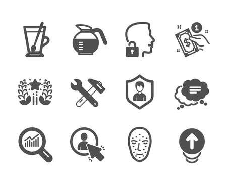 Reihe von Geschäftssymbolen, wie Textnachricht, Datenanalyse, Benutzer, Spanner-Tool, Zahlungsmethode, Swipe up, Coffeepot, Face Biometrics, Security Agency, Tea Mug, Unlock System, Ranking. Vektor