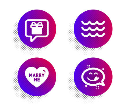 Wish list, Marry me and Waves icons simple set. Halftone dots button. Yummy smile sign. Present box, Wedding, Water wave. Emoticon. Holidays set. Classic flat wish list icon. Vector