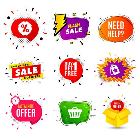 Need help symbol. Banner badge, flash sale bubble. Support service sign. Faq information. Last minute offer. Sticker badge, comic bubble. Discounts box. Vector
