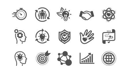 Iconos de valores fundamentales. Integridad, objetivo y estrategia. Ayudar a mano, responsabilidad social, iconos de objetivo de compromiso. Conjunto clásico. Conjunto de calidad. Vector