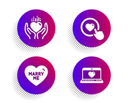 Hold heart, Like button and Marry me icons simple set. Halftone dots button. Web love sign. Care love, Wedding, Social network. Love set. Classic flat hold heart icon. Vector