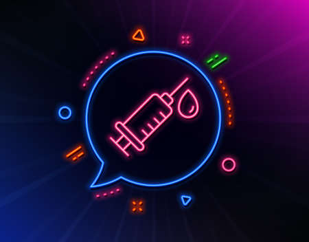 Medical syringe line icon. Neon laser lights. Medicine vaccine sign. Pharmacy medication symbol. Glow laser speech bubble. Neon lights chat bubble. Banner badge with medical syringe icon. Vector