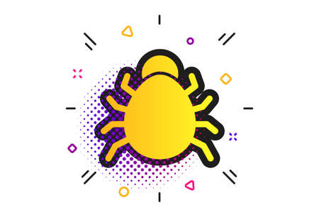 Bug sign icon. Halftone dots pattern. Virus symbol. Software bug error. Disinfection. Classic flat bug icon. Vector