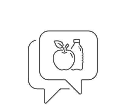 Apple line icon. Chat bubble design. Fruit, water bottle sign. Natural food symbol. Outline concept. Thin line apple icon. Vector