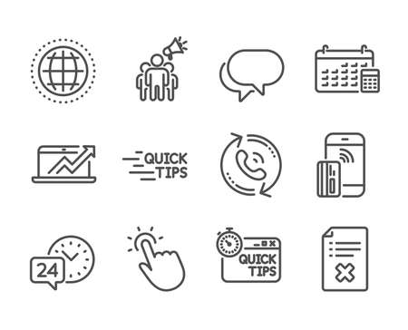 Set of Technology icons, such as Globe, Reject file, Education, Talk bubble, Touchpoint, Sales diagram, Quick tips, 24h service, Calendar, Brand ambassador, Call center line icons. Globe icon. Vector Ilustração