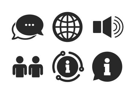 Gruppe von Personen und Lautsprecherlautstärkesymbolen. Chat, Infoschild. Hinweisschild. Internet-Globus-Zeichen. Kommunikationssymbole. Sprechblase im klassischen Stil. Vektor