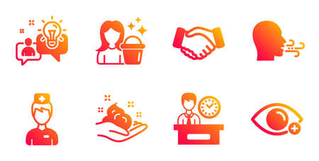 Doctor, Handshake and Breathing exercise line icons set. Skin care, Idea and Cleaning signs. Presentation time, Farsightedness symbols. Medicine person, Deal hand. People set. Vector Ilustrace