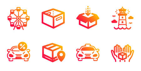 Office box, Taxi and Lighthouse line icons set. Get box, Car leasing and Parcel tracking signs. Ferris wheel symbol. Public transportation, Beacon tower. Transportation set. Vector