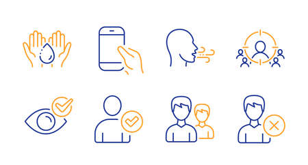 Business targeting, Breathing exercise and Hold smartphone line icons set. Check eye, Wash hands and Couple signs. Identity confirmed, Remove account symbols. People and target aim, Breath. Vector Ilustracja