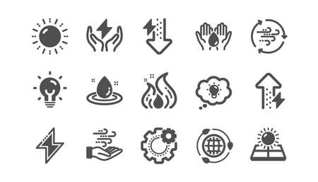 Energy icons. Solar panels, wind energy and electric thunder bolt. Fire flame, hazard, green ecology icons. Classic set. Quality set. Vector