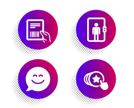 Smile chat, Elevator and Parcel invoice icons simple set. Halftone dots button. Hold heart sign. Happy face, Office transportation, Delivery document. Love brand. People set. Vector