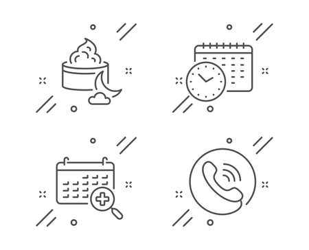 Night cream, Calendar time and Medical calendar line icons set. Call center sign. Face lotion, Clock, Doctor appointment. Phone support. Business set. Line night cream outline icon. Vector