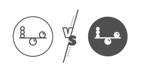 Mind stability sign. Versus concept. Balance line icon. Concentration symbol. Line vs classic balance icon. Vector