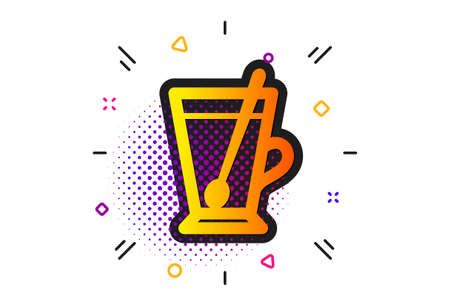 Fresh beverage sign. Halftone circles pattern. Cup with spoon icon. Latte or Coffee symbol. Classic flat tea mug icon. Vector Çizim