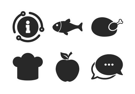 Apple fruit with leaf symbol. Chat, info sign. Food icons. Chicken hen bird meat sign. Fish and Chef hat icons. Classic style speech bubble icon. Vector
