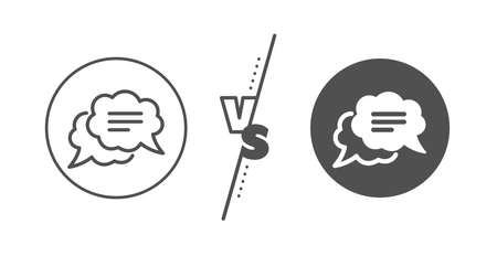 Chat comment sign. Versus concept. Text message line icon. Comic speech bubble symbol. Line vs classic text message icon. Vector
