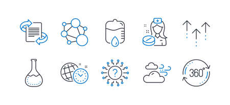 Set of Science icons, such as Nurse, Chemistry lab, Swipe up, Windy weather, Integrity, Drop counter, Marketing, Question mark, Time management, Full rotation line icons. Line nurse icon. Vector 向量圖像