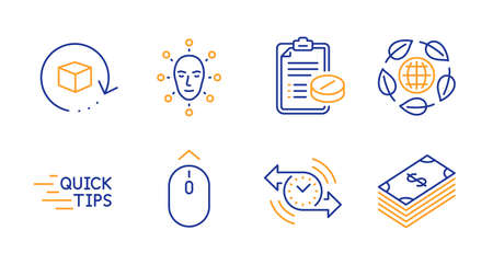 Swipe up, Eco organic and Face biometrics line icons set. Medical prescription, Education and Timer signs. Return package, Dollar symbols. Scrolling page, Bio ingredients. Business set. Vector