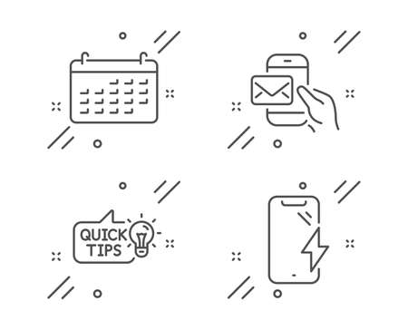 Messenger mail, Calendar and Education idea line icons set. Smartphone charging sign. New e-mail, Business audit, Quick tips. Phone battery. Technology set. Line messenger mail outline icon. Vector Foto de archivo - 128478674
