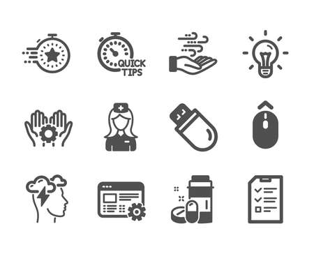 Set of Science icons, such as Web settings, Employee hand, Swipe up, Medical drugs, Hospital nurse, Interview, Wind energy, Idea, Mindfulness stress, Quick tips, Timer, Usb stick. Vector Stock Illustratie
