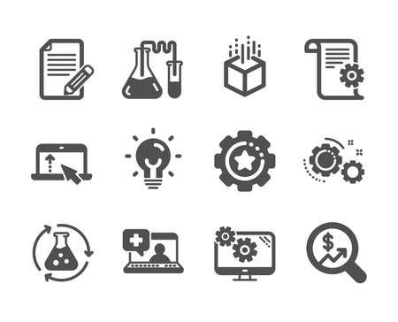 Set of Science icons, such as Medical help, Settings gear, Settings, Currency audit, Article, Augmented reality, Swipe up, Technical documentation, Chemistry lab, Chemistry experiment. Vector Vettoriali