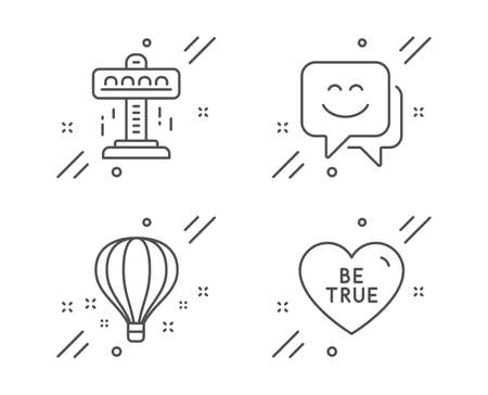 Smile face, Air balloon and Attraction line icons set. Be true sign. Chat, Sky travelling, Free fall. Love sweetheart. Holidays set. Line smile face outline icon. Vector Иллюстрация
