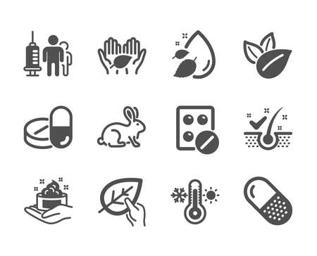 Set of Healthcare icons, such as Thermometer, Anti-dandruff flakes, Organic product, Medical tablet, Skin care, Water drop, Capsule pill, Medical drugs, Animal tested, Fair trade. Vector Illustration