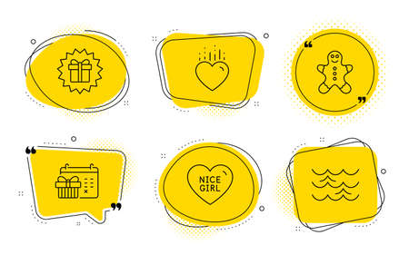 Heart, Christmas calendar and Waves signs. Chat bubbles. Surprise gift, Nice girl and Gingerbread man line icons set. Shopping offer, Love heart, Christmas cookie. Love. Holidays set. Vector