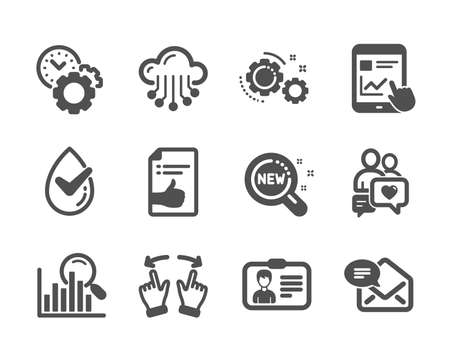 Set of Technology icons, such as New products, New mail, Move gesture, Internet report, Cloud storage, Identification card, Dermatologically tested, Approved document, Search, Gears. Vector
