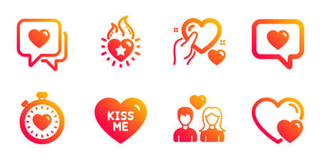 Kiss me, Love message and Heart flame line icons set. Hold heart, Couple love and Heartbeat timer signs. Hearts symbol. Dating service, Romantic relationships. Love set. Vector Illustration