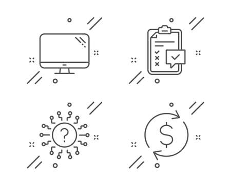 Checklist, Computer and Question mark line icons set. Dollar exchange sign. Survey, Pc component, Quiz chat. Banking rates. Line checklist outline icon. Vector