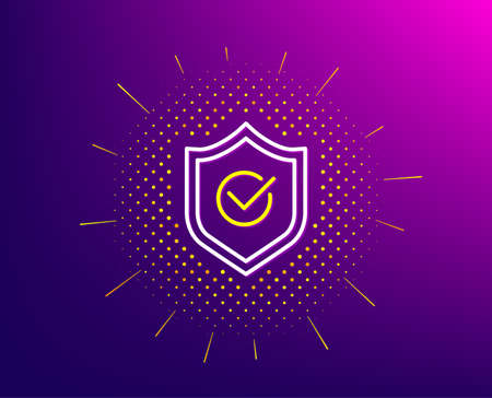 Approved shield line icon. Halftone pattern. Accepted or confirmed sign. Protection symbol. Gradient background. Approved shield line icon. Yellow halftone pattern. Vector Ilustração