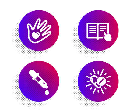 Chemistry pipette, Social responsibility and Read instruction icons simple set. Halftone dots button. Medical drugs sign. Laboratory, Helping hand, Opened book. Medicine pills. Science set. Vector