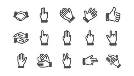Hand gestures icons. Handshake, Clapping hands, Victory. Horns, Thumb up finger, drag and drop icons. Donation hand gestures, middle finger, helping hand. Classic set. Quality set. Vector Illustration