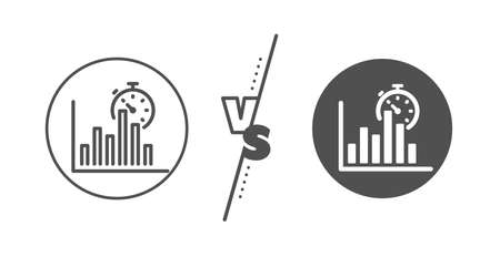 Column graph sign. Versus concept. Report timer line icon. Growth diagram chart symbol. Line vs classic report timer icon. Vector 일러스트