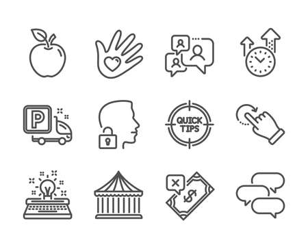 Set of Business icons, such as Typewriter, Social responsibility, Talk bubble, Time management, Rotation gesture, Support chat, Tips, Truck parking, Carousels, Unlock system, Apple. Vector