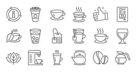Coffee and Tea line icons. Cappuccino, Teapot and Coffeepot. Coffee beans linear icon set. Quality line set. Vector Ilustração