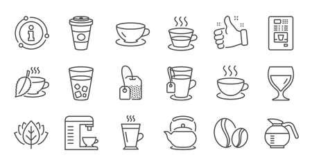 Icone della linea di caffè e tè. Cappuccino, Teiera e Caffettiera. Insieme dell'icona lineare di chicchi di caffè. Linea di qualità impostata. Vettore