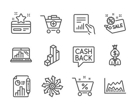 Set of Finance icons, such as Versatile, Report document, Add products, Loan percent, Money transfer, Manager, 3d chart, Document, Trade chart, Loyalty card, Graph laptop, Sale line icons. Vector Illustration