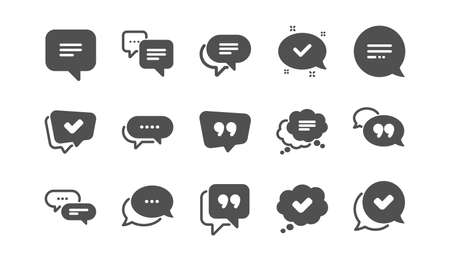 Chat and quote icons. Approved, Checkmark box and Social media message. Chat speech bubble, Tick or check mark, Comment quote icons. Think speech bubble. Classic set. Quality set. Vector