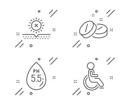 No sun, Medical tablet and Ph neutral line icons set. Disabled sign. Uv protect, Medicine pill, Water. Handicapped wheelchair. Healthcare set. Line no sun outline icon. Vector 向量圖像