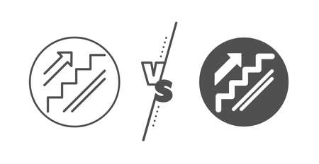 Shopping stairway sign. Versus concept. Stairs line icon. Entrance or Exit symbol. Line vs classic stairs icon. Vector Illustration