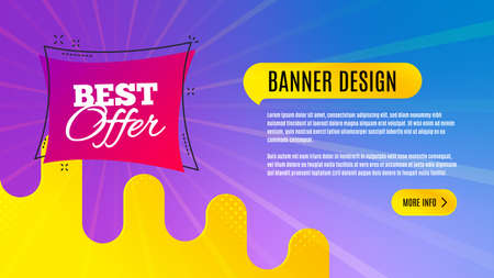 Best offer badge. Discount banner shape. Sale coupon bubble icon. Abstract background design. Banner with offer badge. Vector