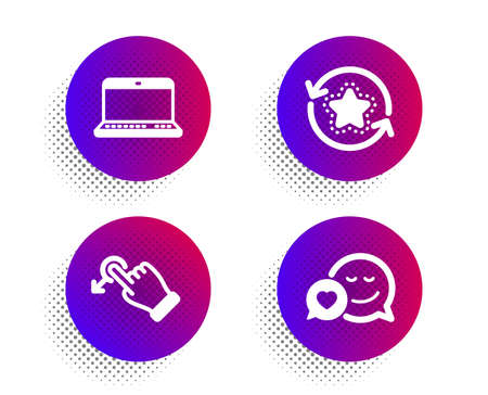 Notebook, Drag drop and Loyalty points icons simple set. Halftone dots button. Dating sign. Laptop computer, Move, Bonus reward. Love messenger. Technology set. Classic flat notebook icon. Vector Illustration